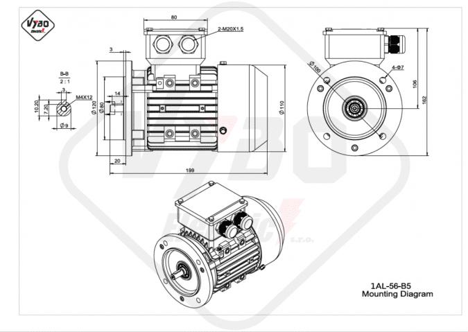 rozměrový výkres Elektromotor 0,09kW 1AL56A-2 B5