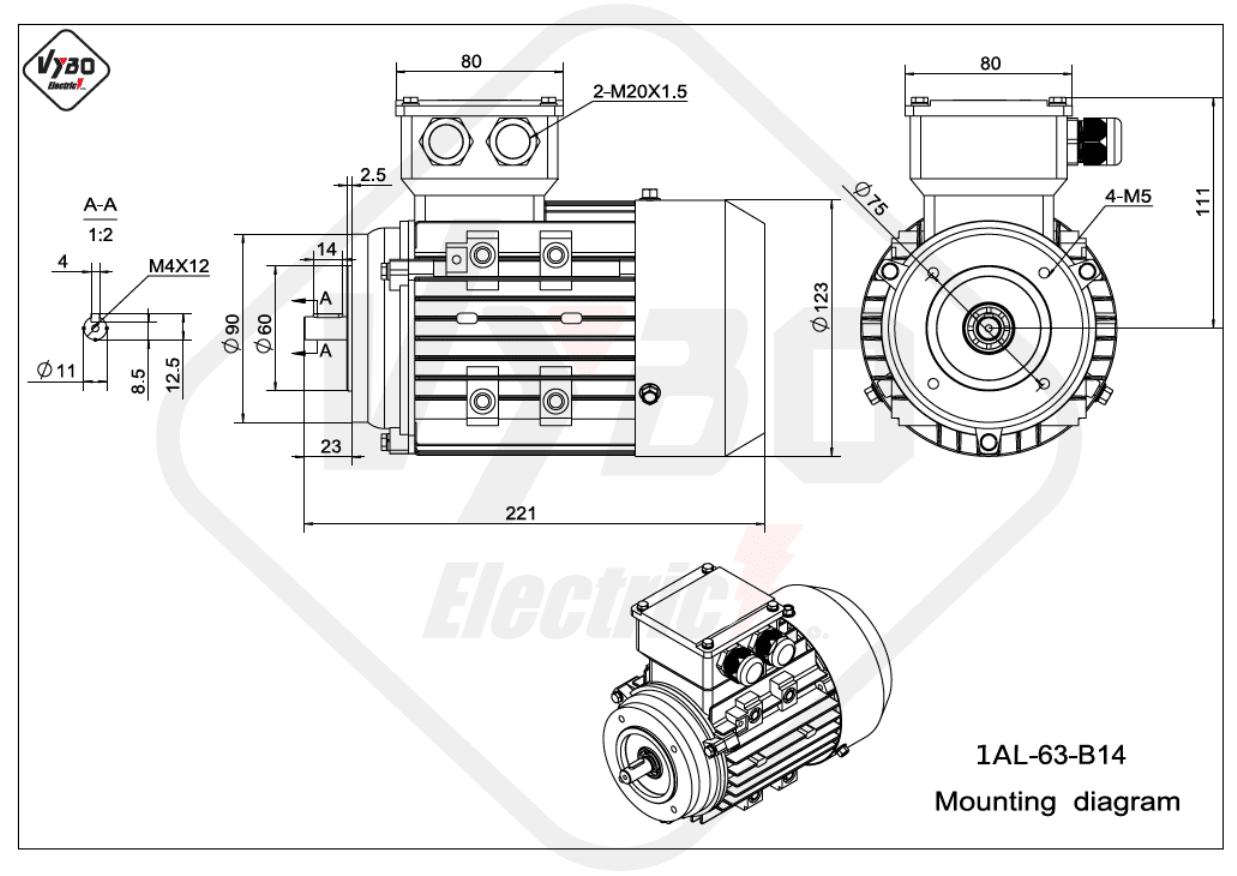 rozměrový výkres Elektromotor 0,25kW 1AL63L-2 B14