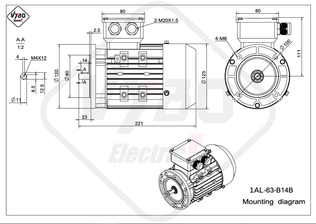 rozměrový výkres Elektromotor 0,25kW 1AL63L-2 B14B