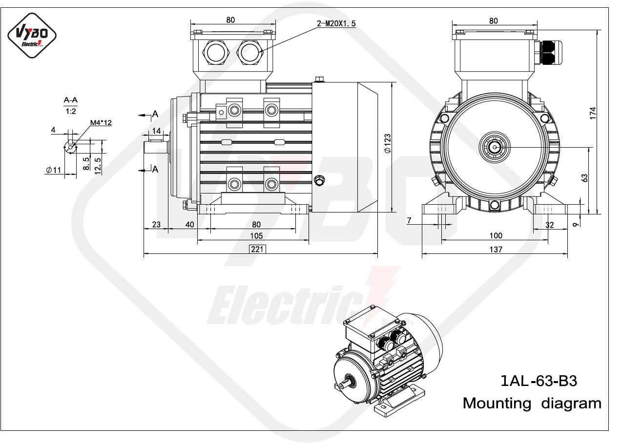 rozměrový výkres Elektromotor 0,25kW 1AL63L-2 B3