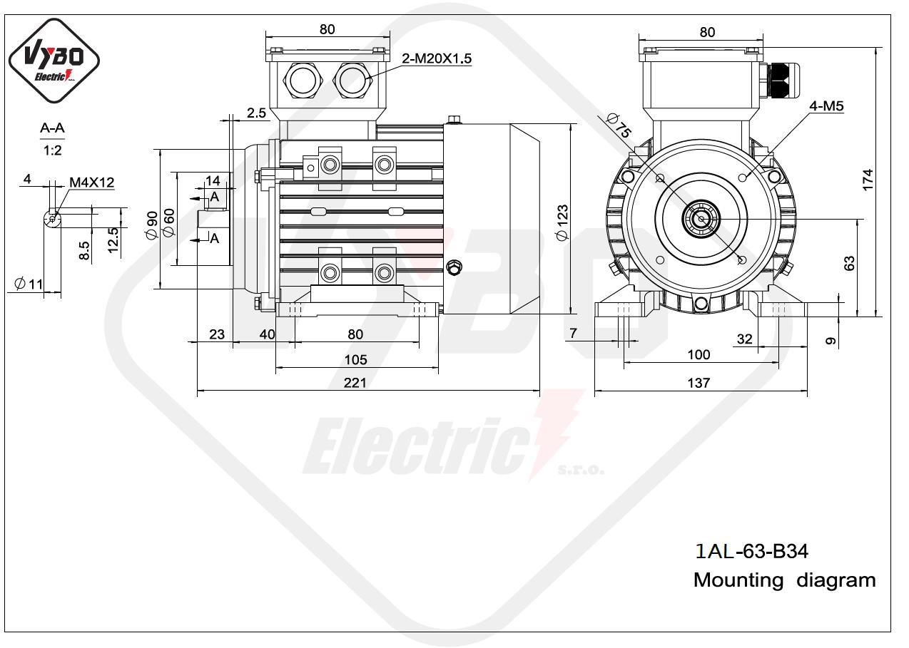 rozměrový výkres Elektromotor 0,25kW 1AL63L-2 B34