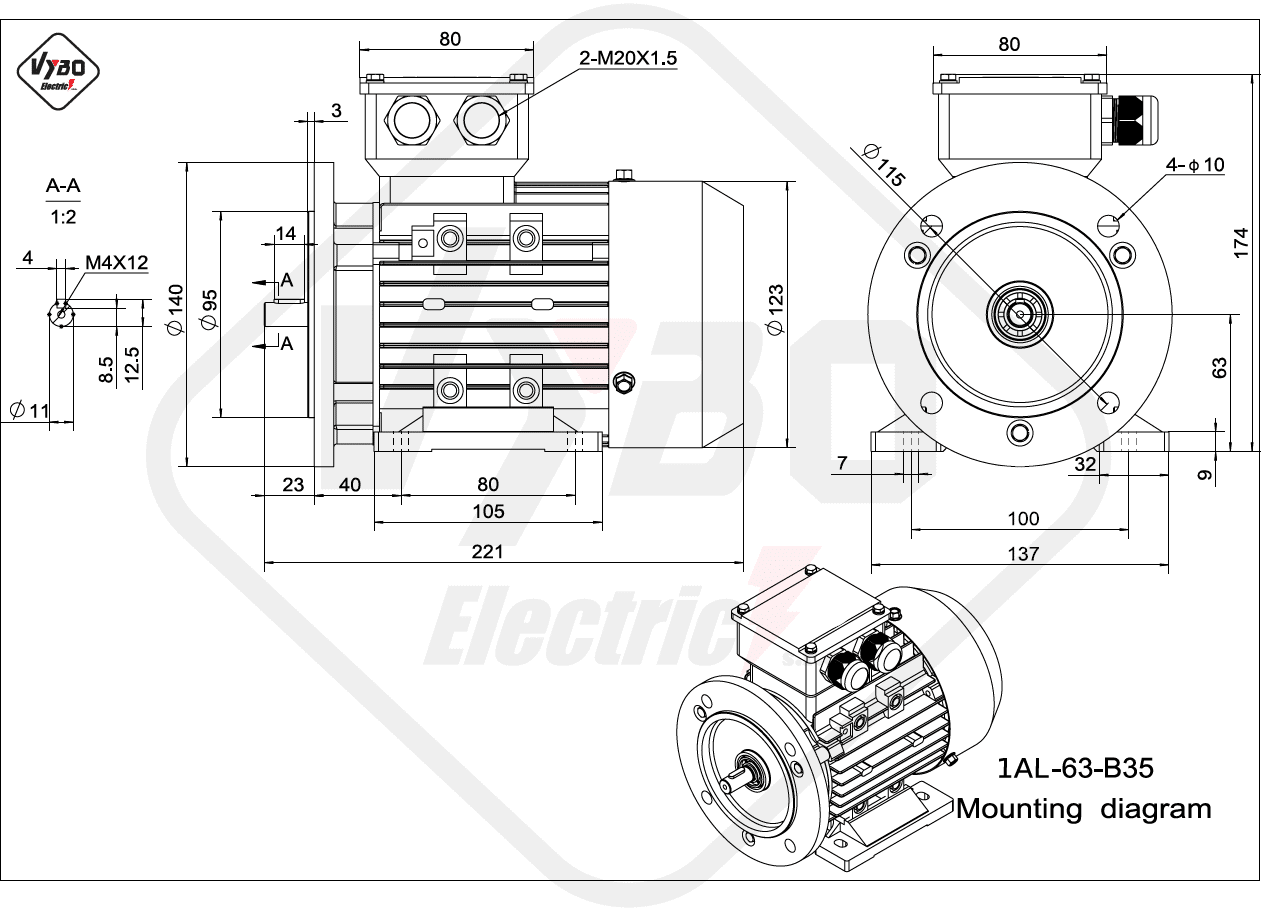rozměrový výkres Elektromotor 0,25kW 1AL63L-2 B35