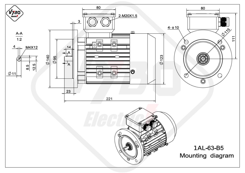 rozměrový výkres Elektromotor 0,25kW 1AL63L-2 B5