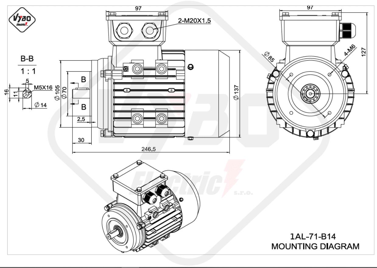 rozměrový výkres Elektromotor 0,37kW 1AL71S-2 B14