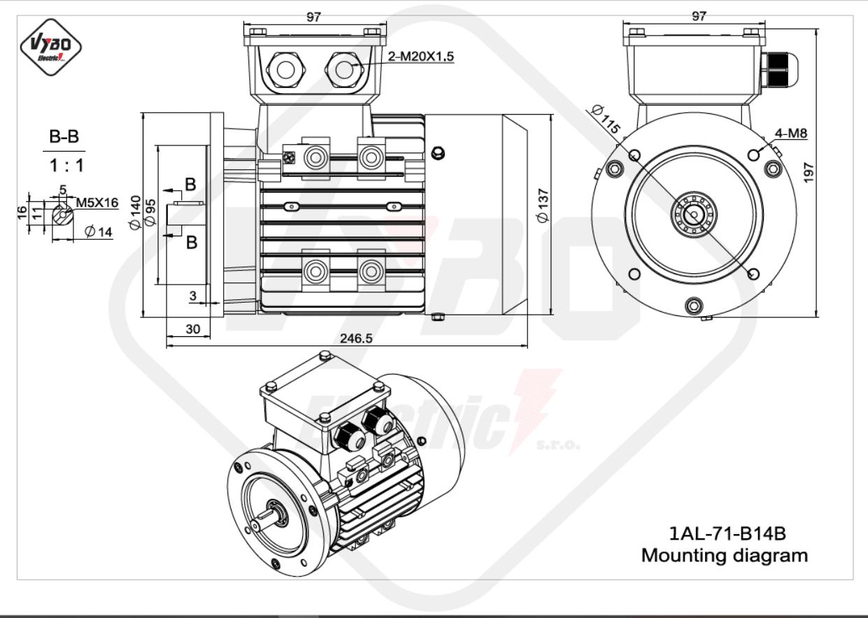 rozměrový výkres Elektromotor 0,37kW 1AL71S-2 B14B