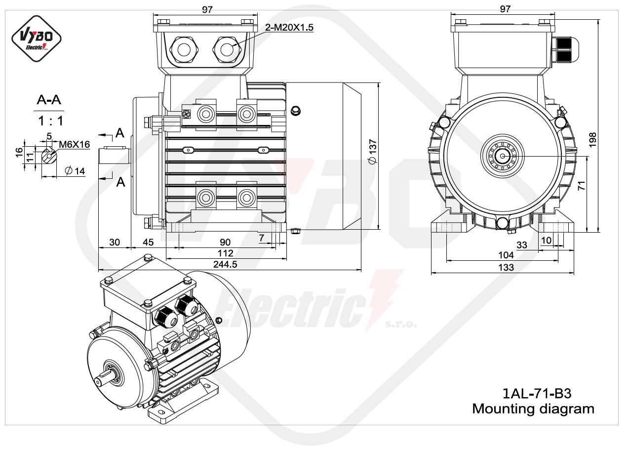 rozměrový výkres Elektromotor 0,37kW 1AL71S-2 B3