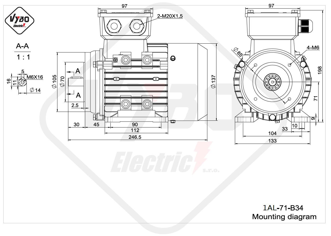 rozměrový výkres Elektromotor 0,37kW 1AL71S-2 B34