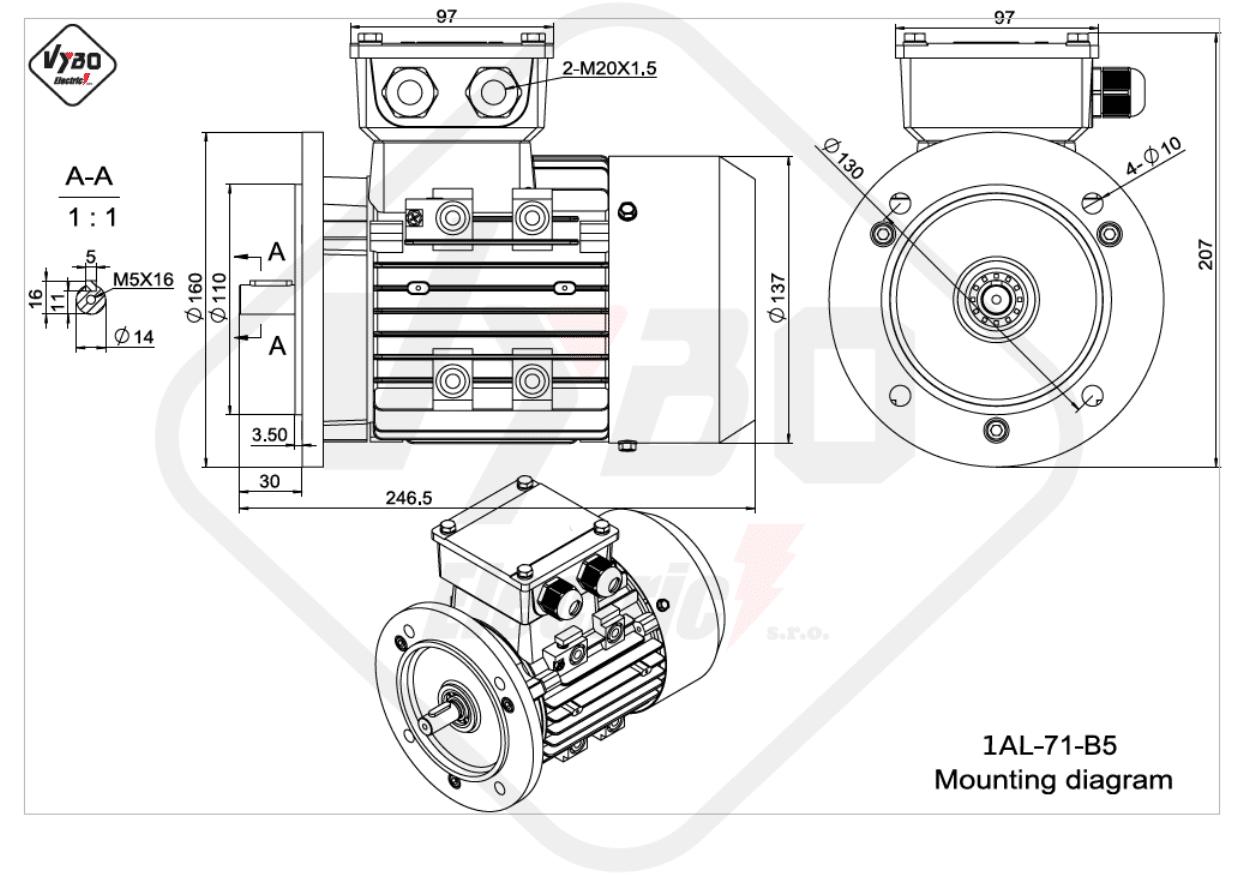 rozměrový výkres Elektromotor 0,37kW 1AL71S-2 B5