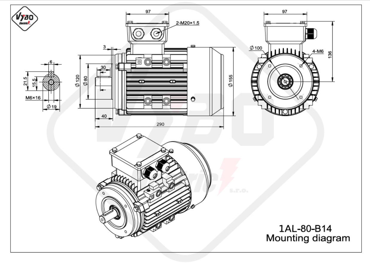 rozměrový výkres Elektromotor 1,1kW 1AL80M-2 B14