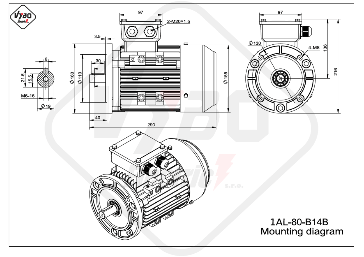 rozměrový výkres Elektromotor 1,1kW 1AL80M-2 B14B