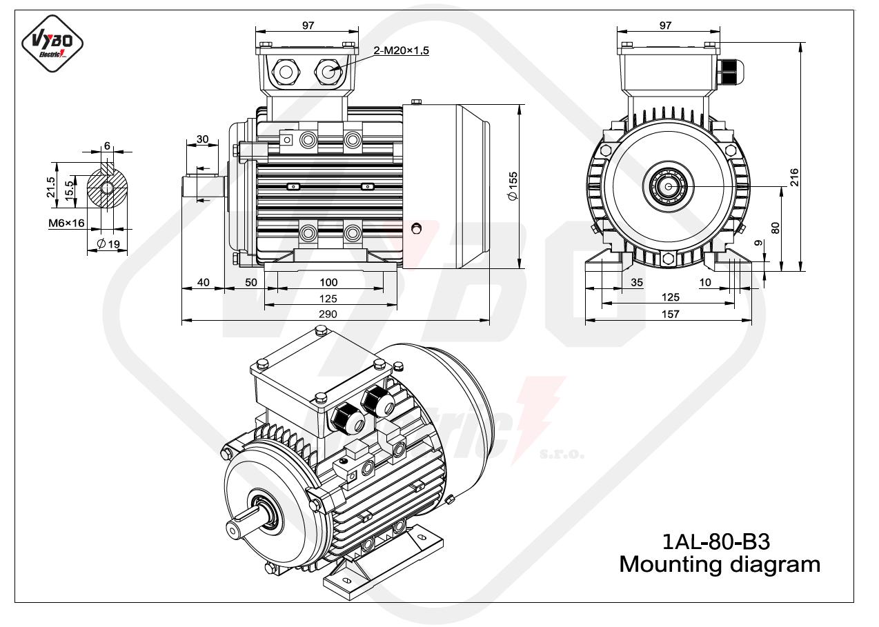 rozměrový výkres Elektromotor 1,1kW 1AL80M-2 B3