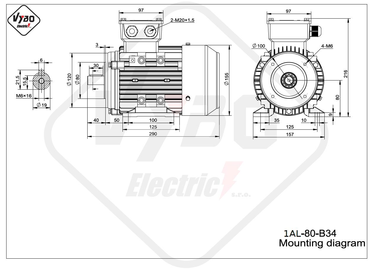 rozměrový výkres Elektromotor 1,1kW 1AL80M-2 B34