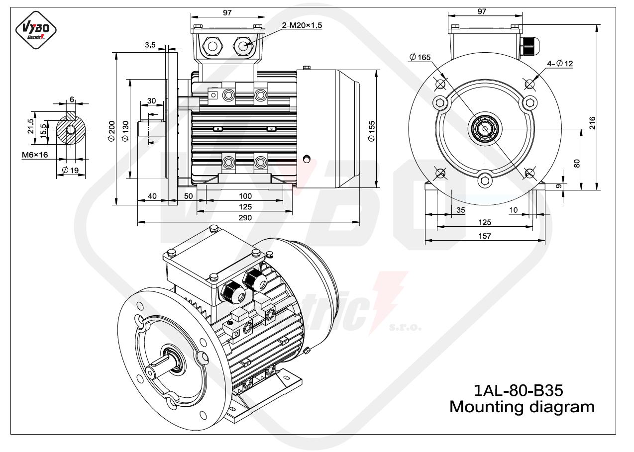 rozměrový výkres Elektromotor 1,1kW 1AL80M-2 B35