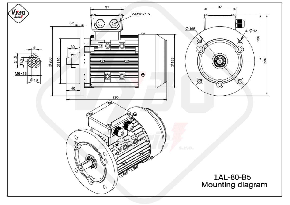 rozměrový výkres Elektromotor 1,1kW 1AL80M-2 B5