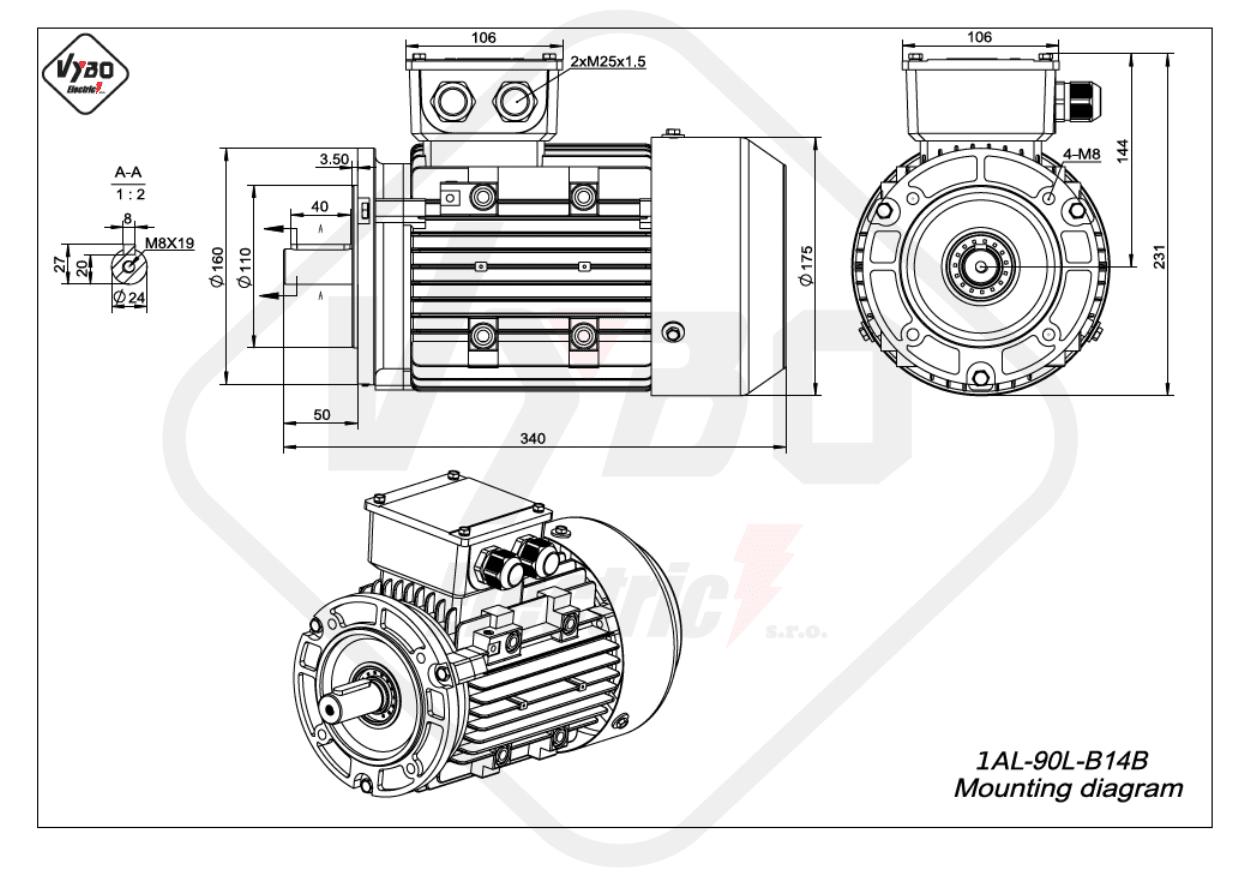 rozměrový výkres Elektromotor 2,2kW 1AL90L-2 B14B