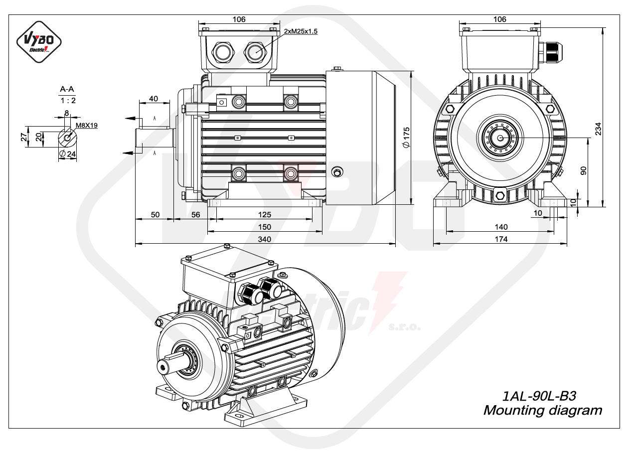 rozměrový výkres Elektromotor 2,2kW 1AL90L-2 B3