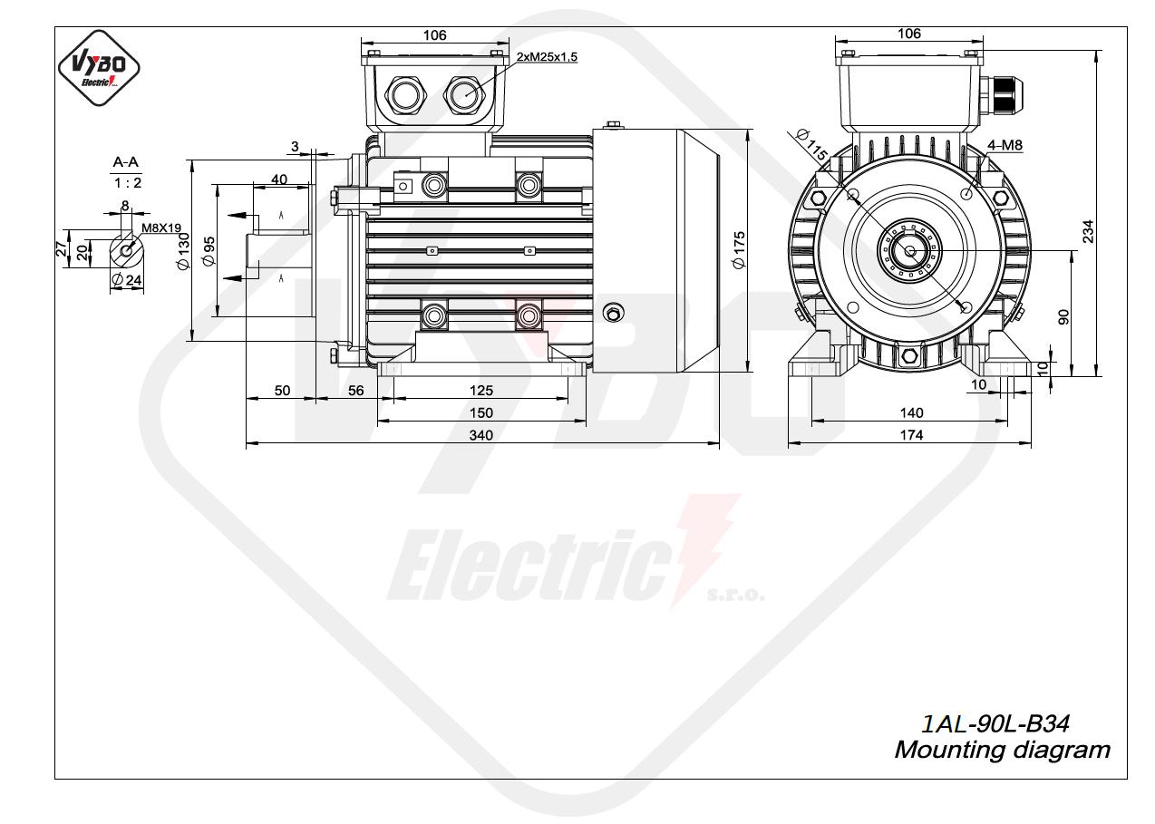 rozměrový výkres Elektromotor 2,2kW 1AL90L-2 B34