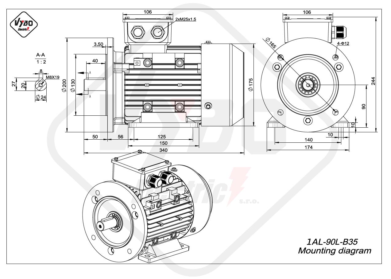 rozměrový výkres Elektromotor 2,2kW 1AL90L-2 B35