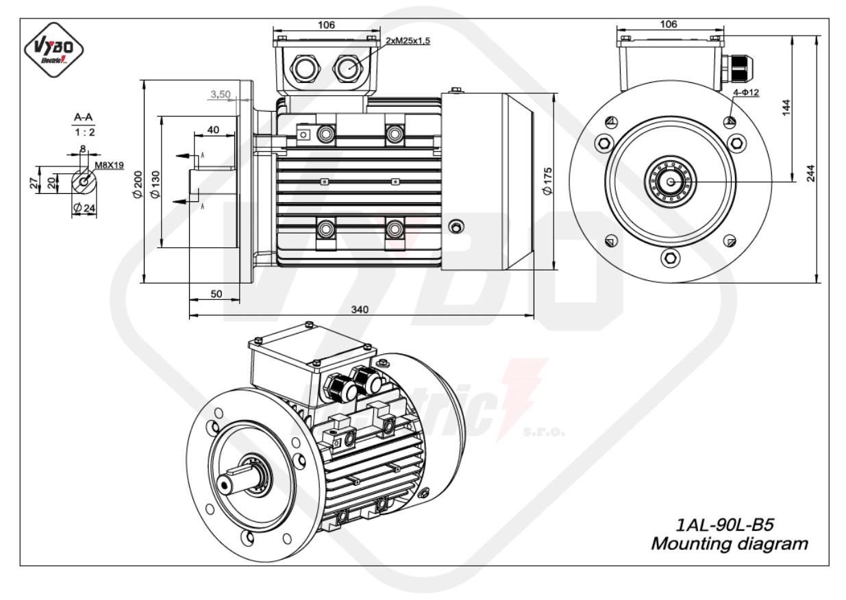 rozměrový výkres Elektromotor 2,2kW 1AL90L-2 B5