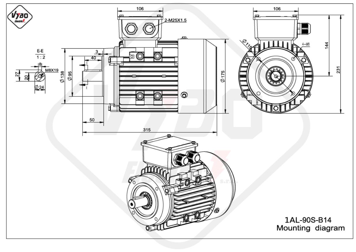 rozměrový výkres Elektromotor 0,75kW 1AL90S-6 B14