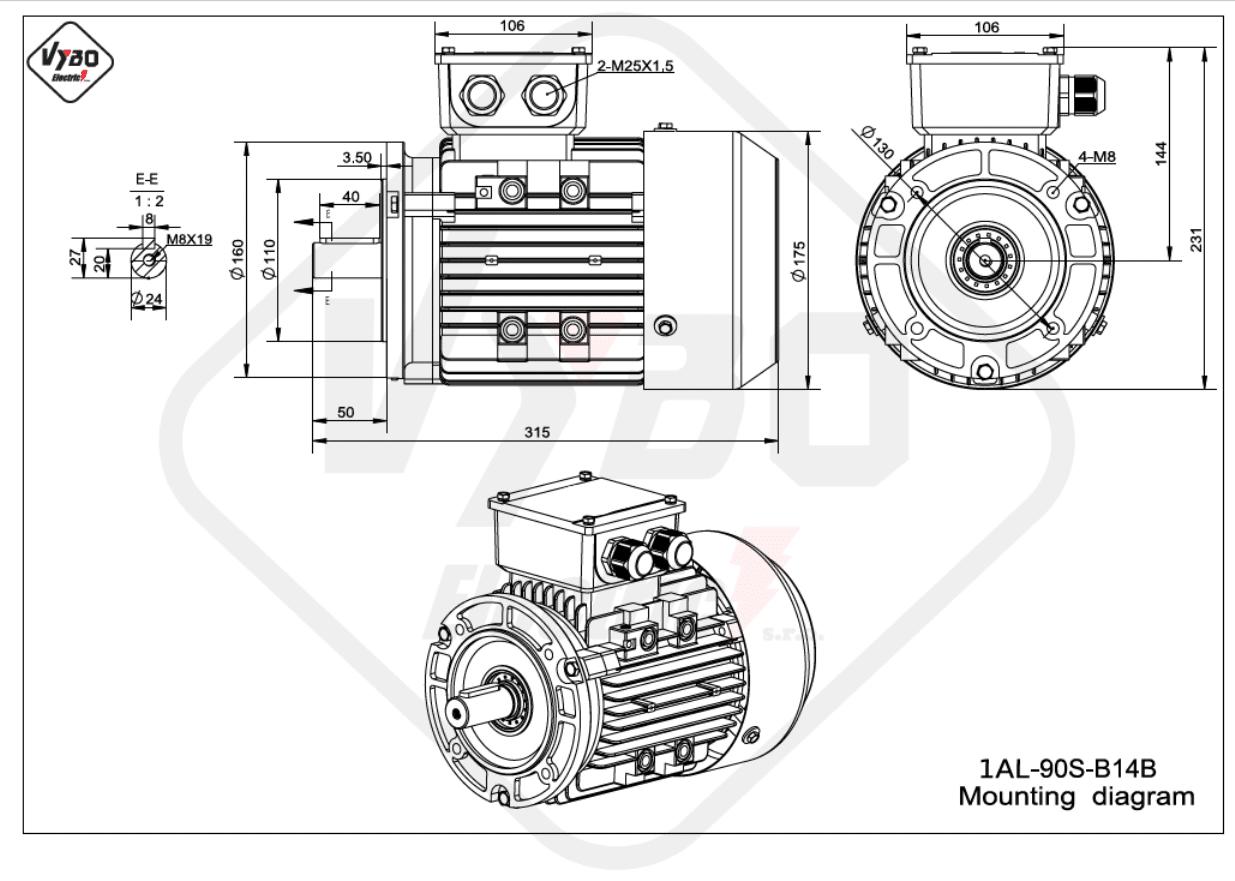 rozměrový výkres Elektromotor 0,75kW 1AL90S-6 B14B