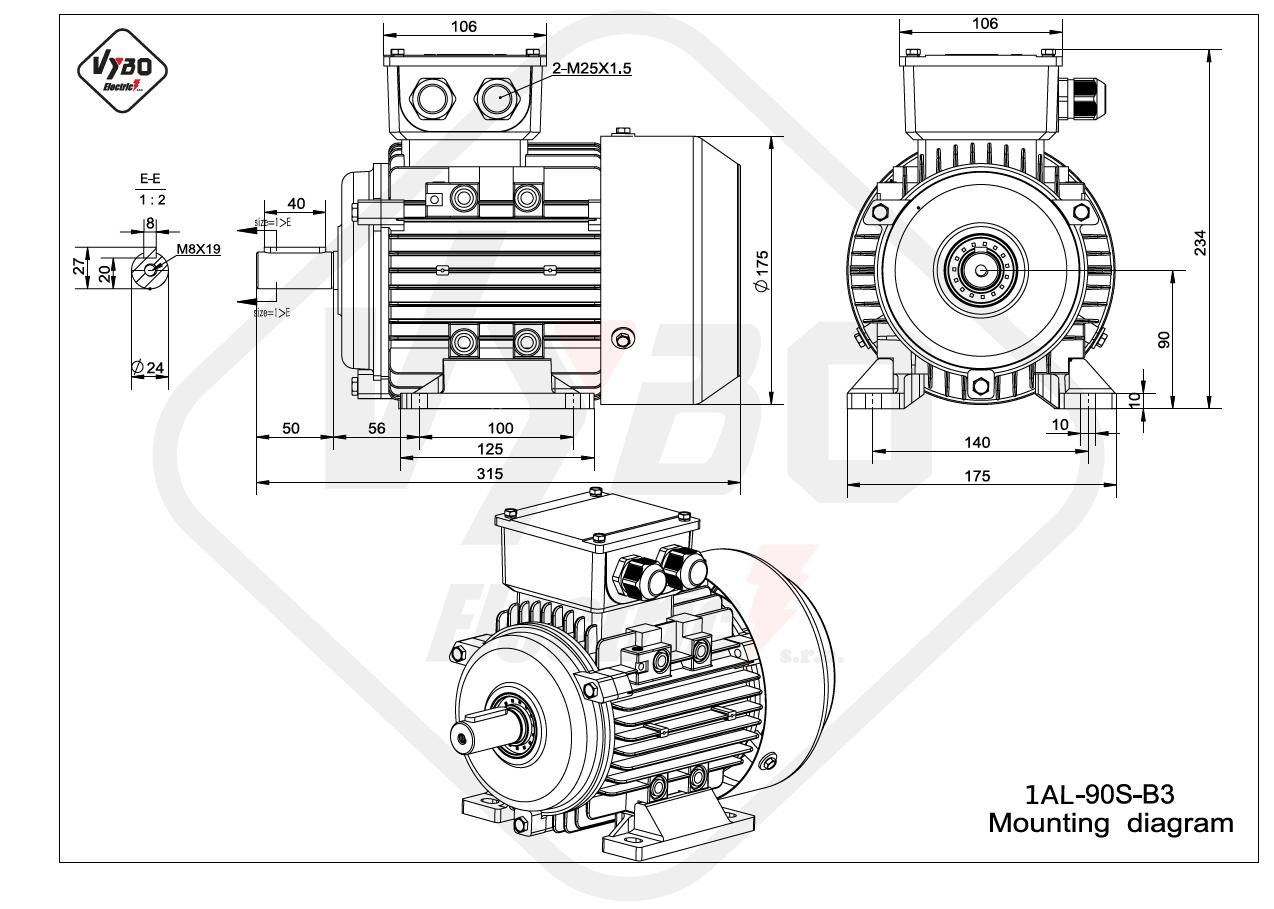rozměrový výkres Elektromotor 0,75kW 1AL90S-6 B3