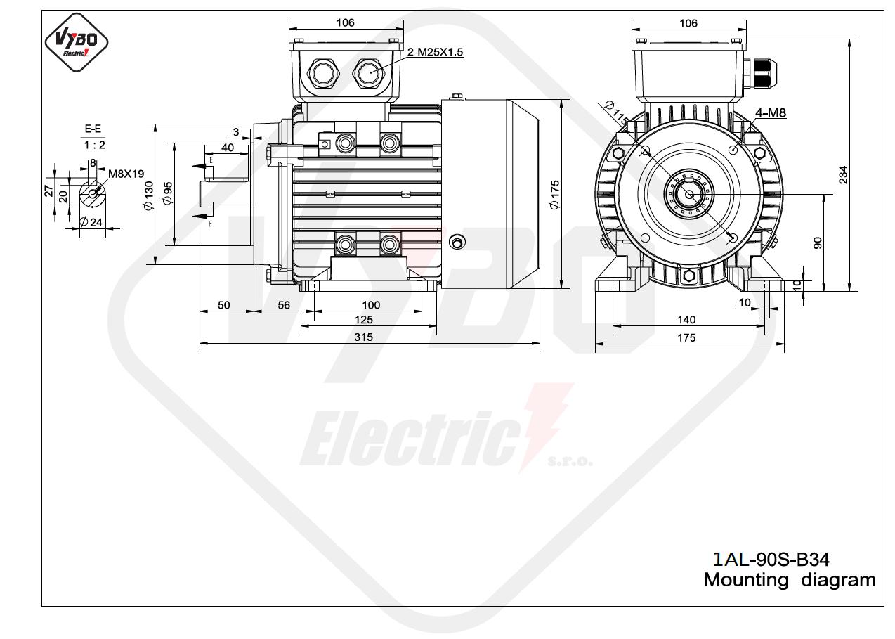 rozměrový výkres Elektromotor 0,75kW 1AL90S-6 B34