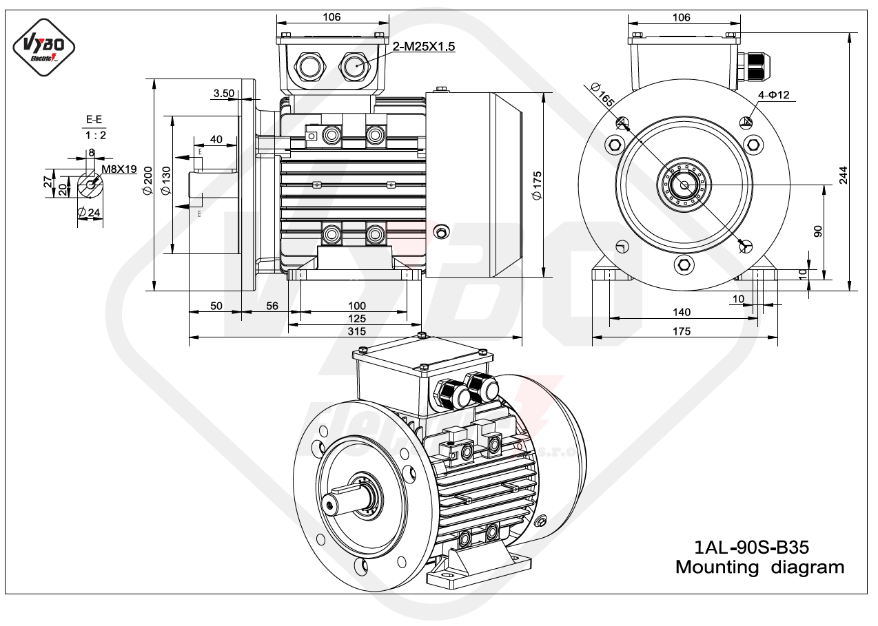 rozměrový výkres Elektromotor 0,75kW 1AL90S-6 B35