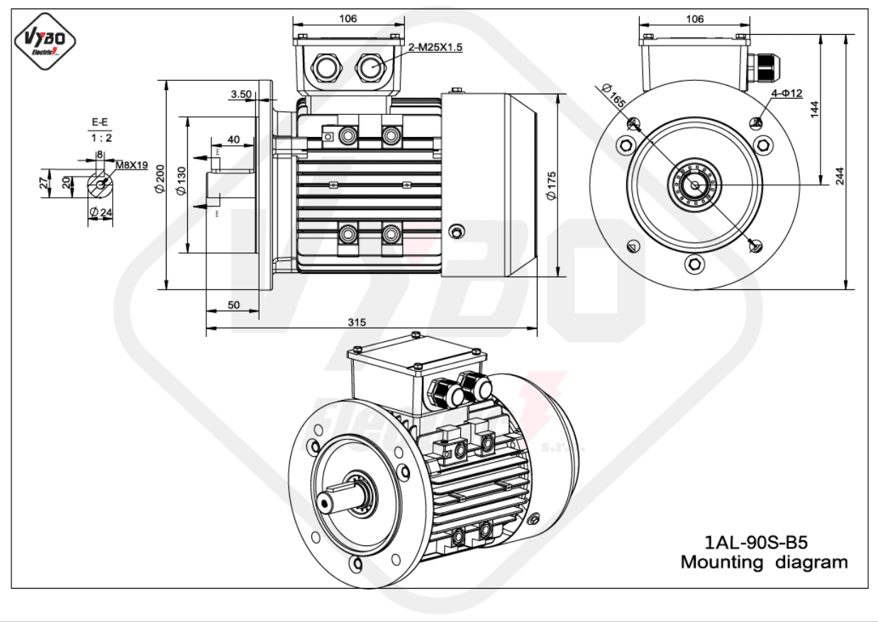 rozměrový výkres Elektromotor 0,75kW 1AL90S-6 B5