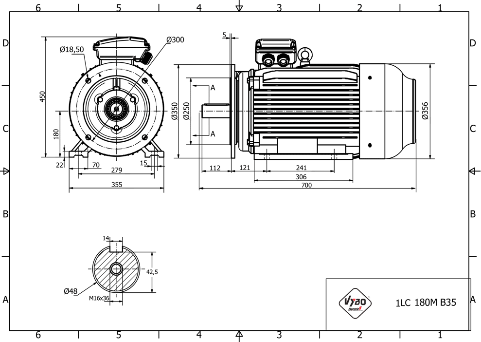 rozměrový výkres elektromotor 22kw 1LC180M-2
