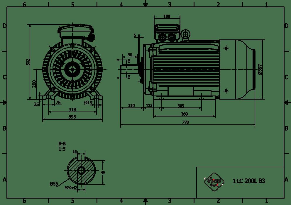rozměrový výkres elektromotor 22kw 1LC200L-6