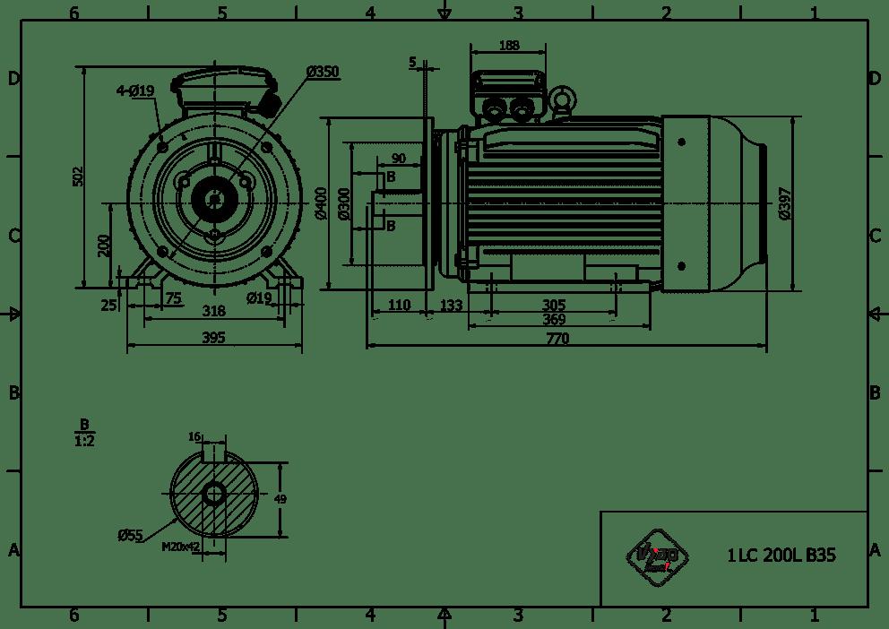 rozměrový výkres elektromotor 37kw 1LC200L2-2