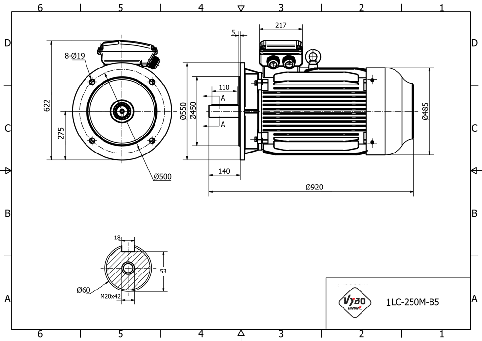 rozměrový výkres elektromotor 37kw 1LC250M-6