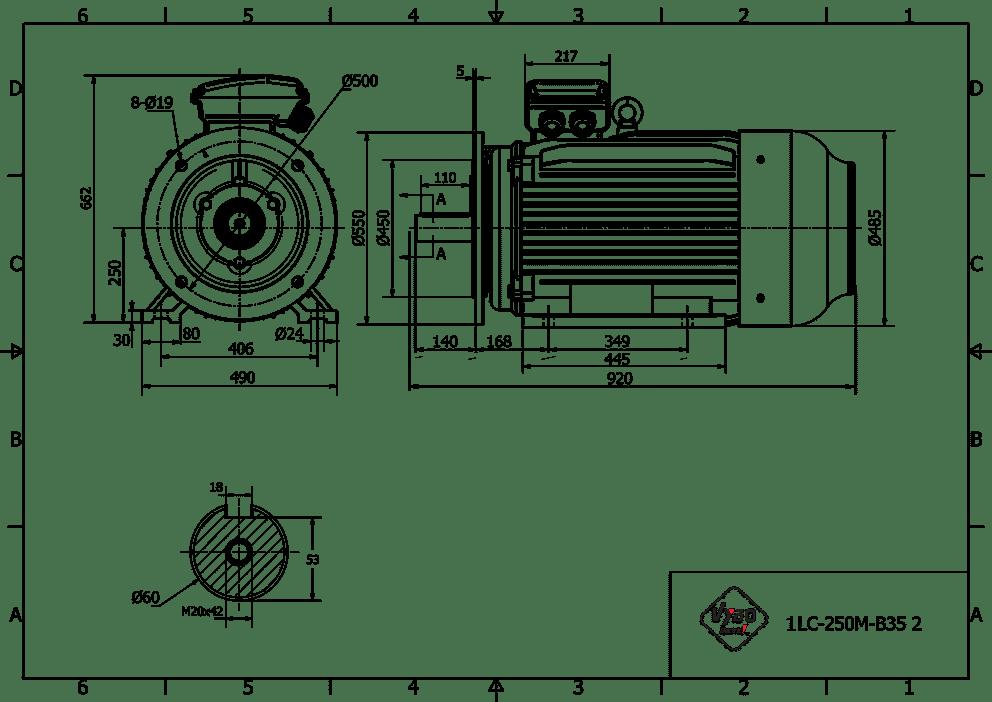 rozměrový výkres elektromotor 55kw 1LC250M-2