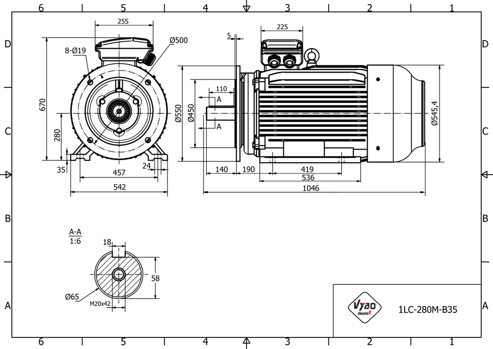 rozměrový výkres elektromotor 55kw 1LC280M-6