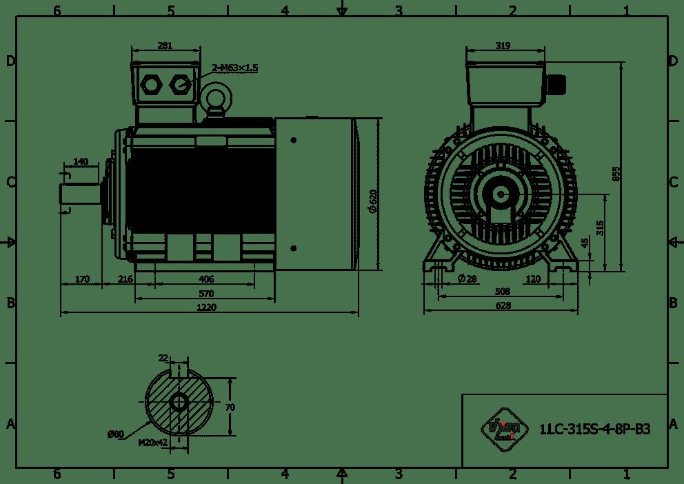 rozměrový výkres elektromotor 75kw 1LC315S-6