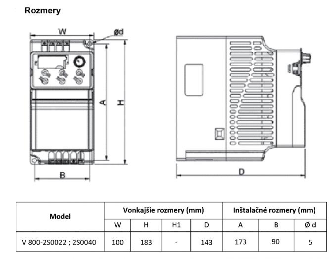 rozměrový výkres frekvenční měnič 2S0022 - 2S0040