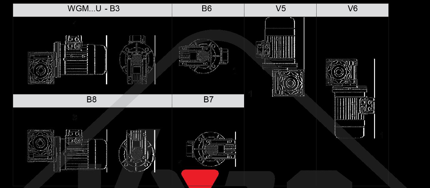 montážní poloha  šneková převodovka WGM050