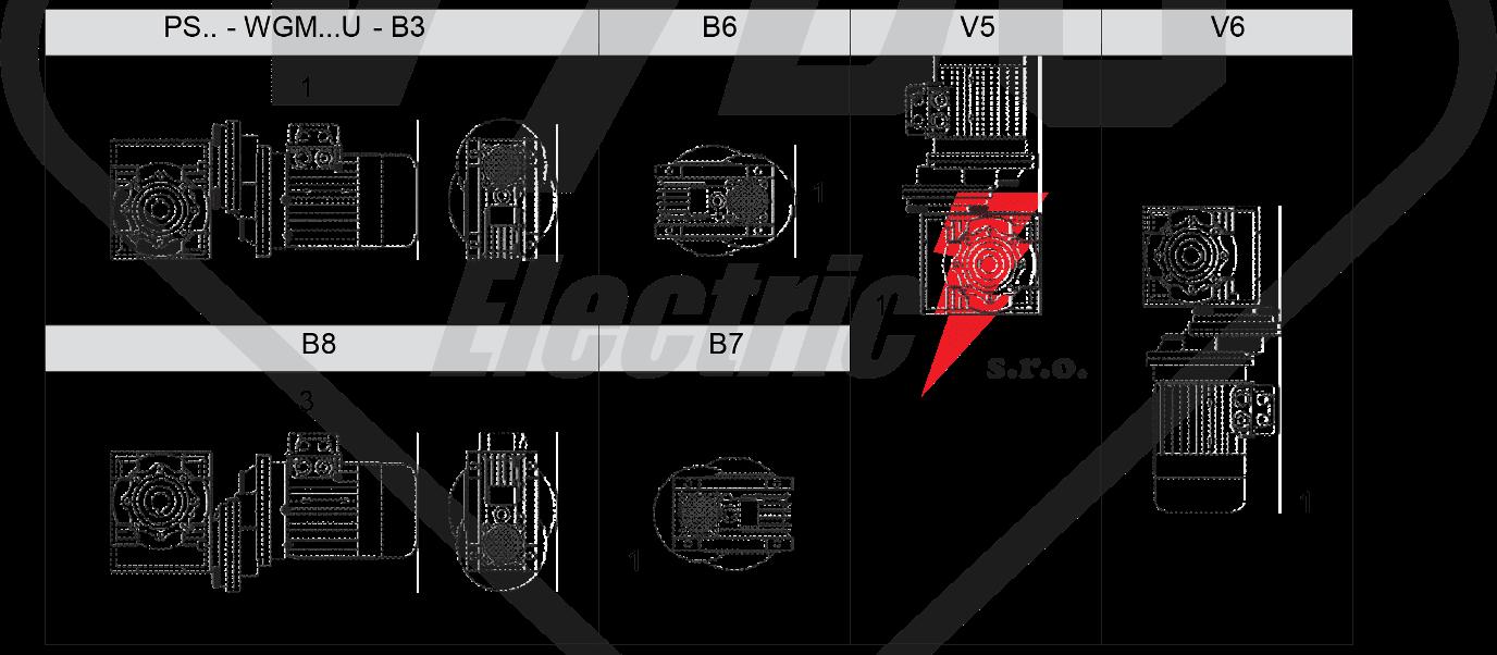 montážní poloha wgmhs  šneková převodovka WGM050
