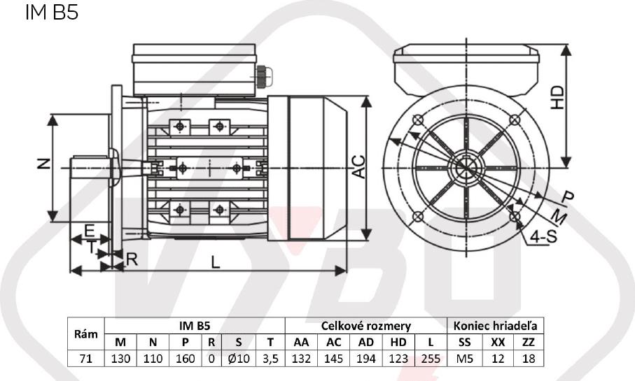 rozměrový výkres jednofázový elektromotor 230V 0,25kw 1ALJ711-4