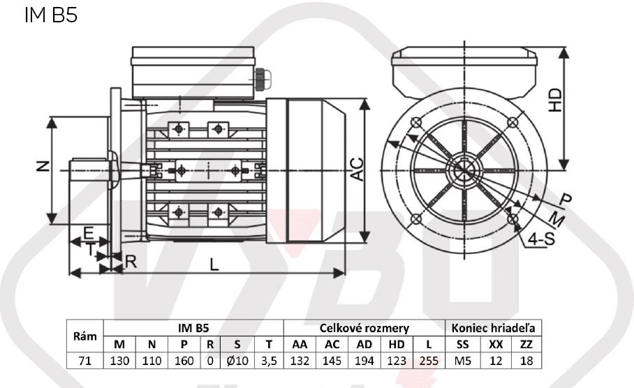 rozměrový výkres jednofázový elektromotor 230V 0,37kw 1ALJ712-4
