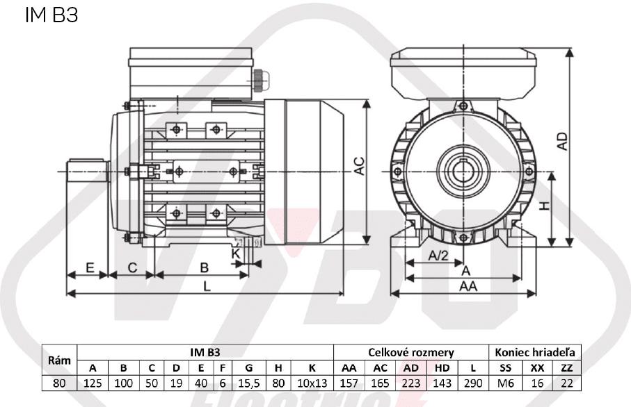 rozměrový výkres jednofázový elektromotor 230V 0,55kw 1ALJ801-4