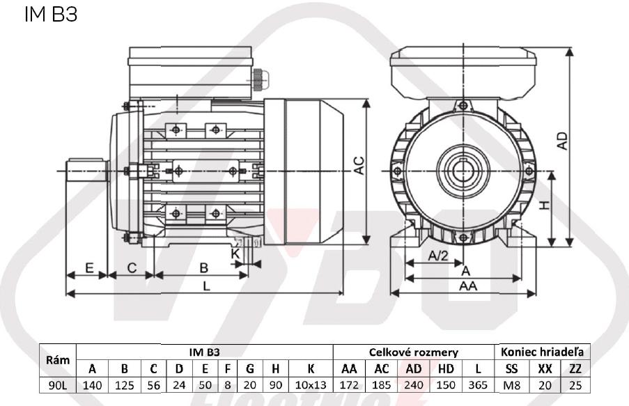 rozměrový výkres jednofázový elektromotor 230V 1,1kw 1ALJ90L1-4