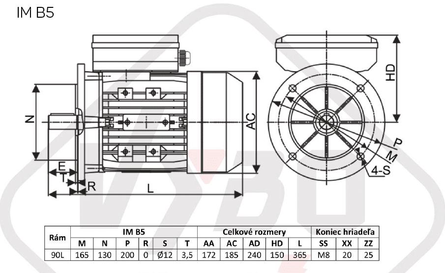 rozměrový výkres jednofázový elektromotor 230V 1,5kw 1ALJ90L2-4