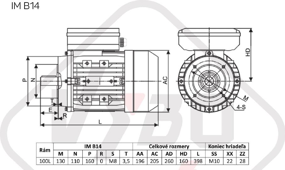 rozměrový výkres jednofázový elektromotor 230V 2,2kw 1ALJ100L1-4