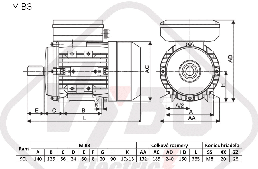 rozměrový výkres jednofázový elektromotor 230V 2,2kw 1ALJ90L2-2