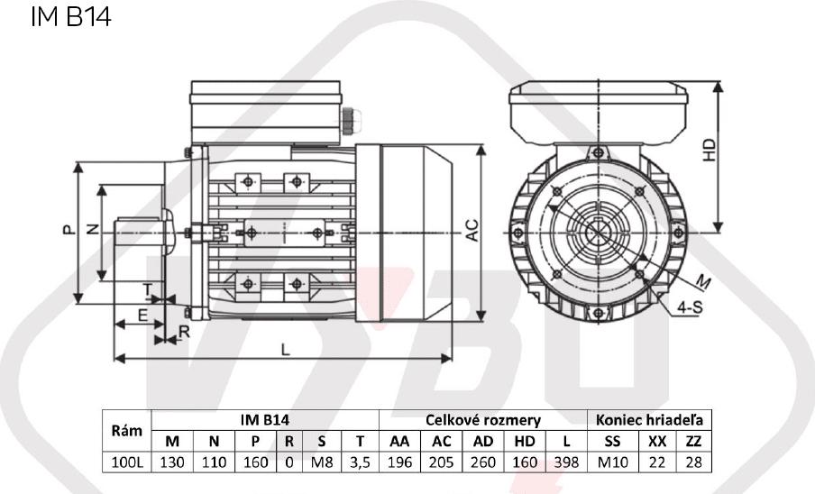 rozměrový výkres jednofázový elektromotor 230V 3kw 1ALJ100L-2