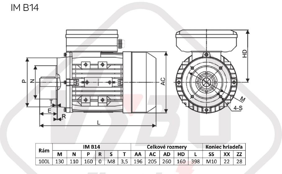 rozměrový výkres jednofázový elektromotor 230V 3kw 1ALJ100L2-4