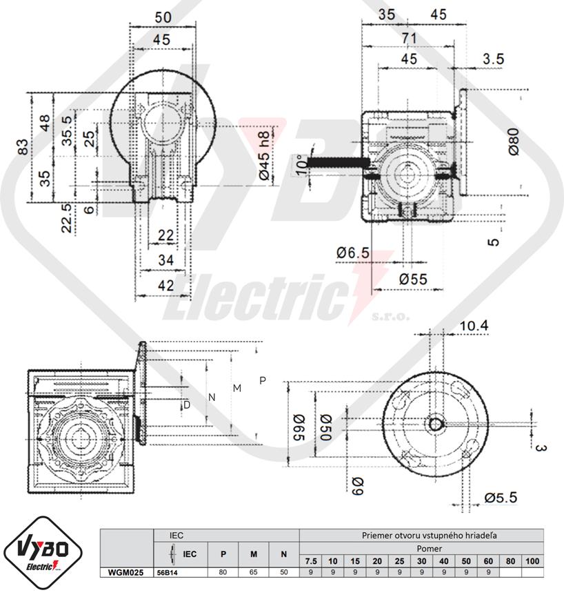 rozměrový výkres šneková převodovka WGM025