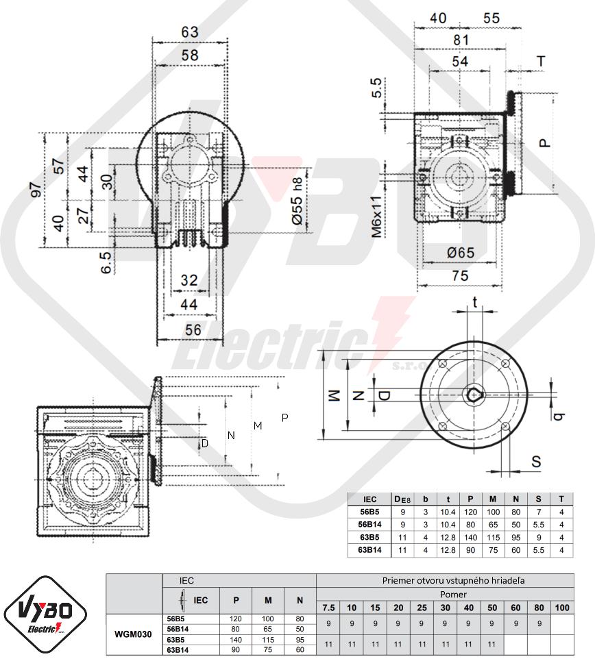 rozměrový výkres převodovka WGM030